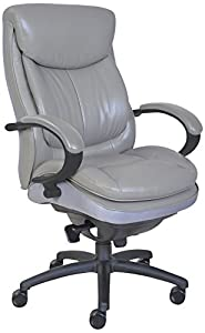 Shiny gray office chair with armrests