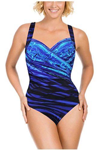 Miraclesuit Bathing Swimsuit - Miraclesuit Kirkland Signature by One Piece Swimsuit (12, New Wave Sanibel)
