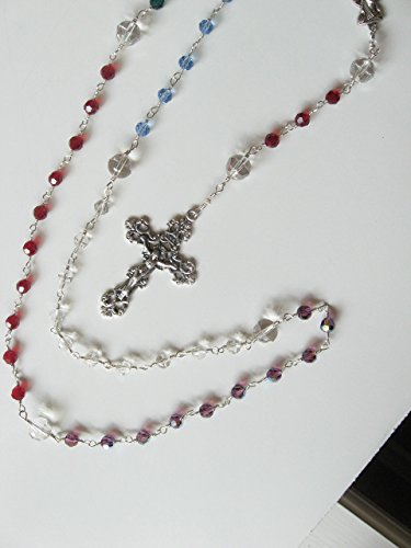 Unbreakable Catholic Family Rosary Birthstone Swarovski Crystal Handmade