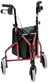 Drive Medical TW011R - Andador de acero ligero y 3 ruedas, color rojo