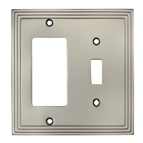 Cosmas 25077-SN Satin Nickel Single Toggle/GFI Decora Rocker Combo Wall Switch Plate Switchplate Cover ()