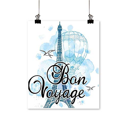 Hanging Painting Party Eiffel Tower Air Balloon Watercolor Bon Voyage Bird Light Blue Black Rich in Color,12