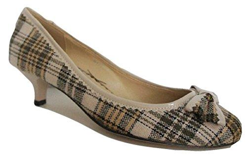 kaki Chaussures VINSENIYA Beige et Carreaux talon faible Cour Tissu q6B1a