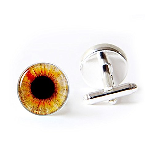 LooPoP Round Cufflink Set Orange Pupil Eyeball Cufflinks for Men's Accessories Shirts Business Wedding