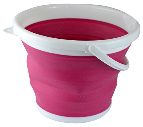 Southern Homewares SH-10130 Foldable Silicone Collapsible Bucket, 2.65 Gallon, Pink