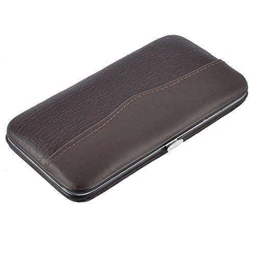 eDealMax Faux ongles manucure tui en Cuir Clipper cuticules toilettage Kit Set 12 1 Brown