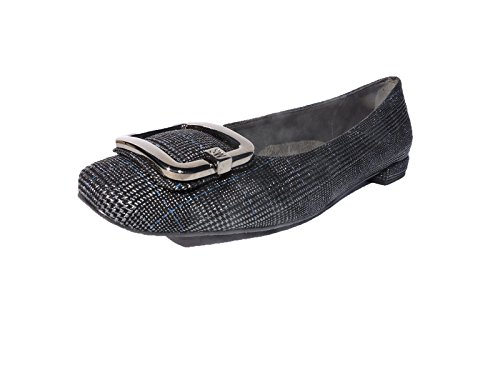 Stuart Weitzman Women's Squared Pewter Ballet Flats, 1/2 Heel Loafers Flats Size 5.5 ()