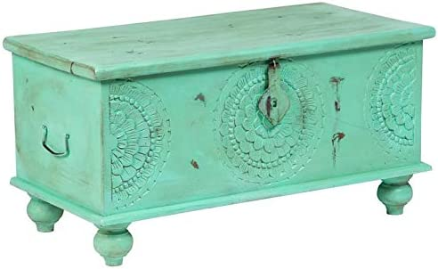 Hawthorne Collections Mina Handcarved Medallion Fully Assembled Storage Trunk Coffee Table – Mint Green, Hand Crafted
