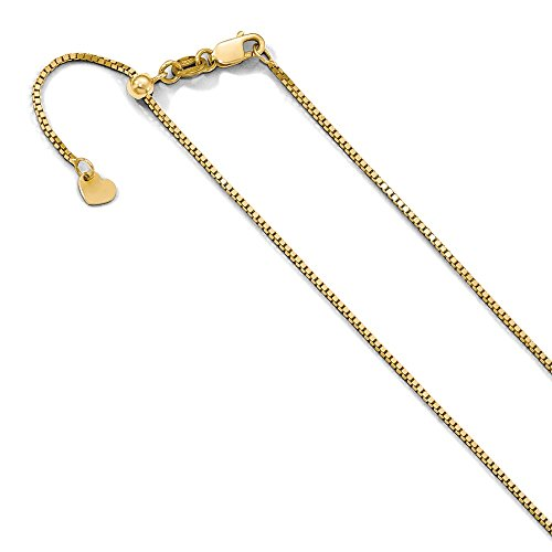 Venetian Necklace Gold Box 10k (0.9 mm 10k Yellow Gold Adjustable Box Chain Necklace - 30 Inch)