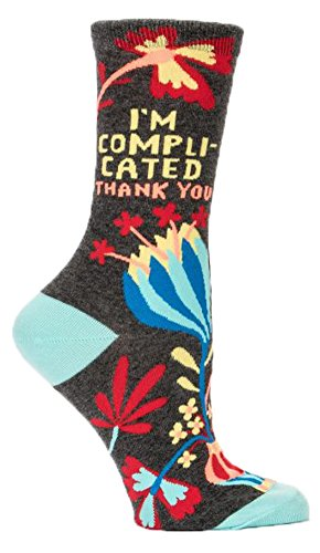 Blue Q Unisex-Adult Ladies I m Complicated Crew Socks Women's Shoe, I'm Compli-cated Thank You, Size 5-10