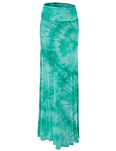 WB1058 Womens Tie Dye Fold Over Maxi Skirt M JADE