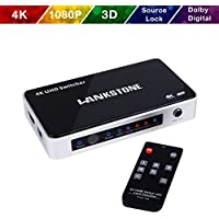 HDMI Switch 4K HDMI Switcher Hub Port 5 IN 1 OUT with Source LOCK Function (Auto-switch OFF/ON) High Speed HDMI Selector with IR Wireless Remote Supports 4K 1080P 3D- LANKSTONE