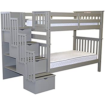 Amazon Com Bedz King Stairway Bunk Beds Twin Over Twin