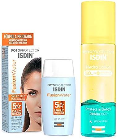 ISDIN Fusion Water Fotoprotector Facial SPF 50, de Fase Acuosa para Uso Diario, Textura Ultra Ligera + Fotoprotector ISDIN HydroLotion SPF 50 | PROTECT & DETOX | Hidratante, Piel radiante | 200 ml