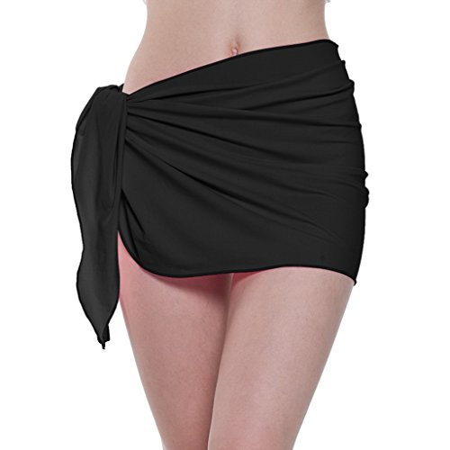 (ChinFun Women's Soft Nylon Spandex Sarong Wrap Beach Swimwear Short Style Cover Up Pareo Swimsuit Wrap Solid Colors Black)