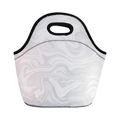 Semtomn Lunch Tote Bag Natural Colors Marble Imitation Monochrome Drips on Solid Mineral Reusable Neoprene Insulated Thermal Outdoor Picnic Lunchbox for Men Women (Soup Sienna)