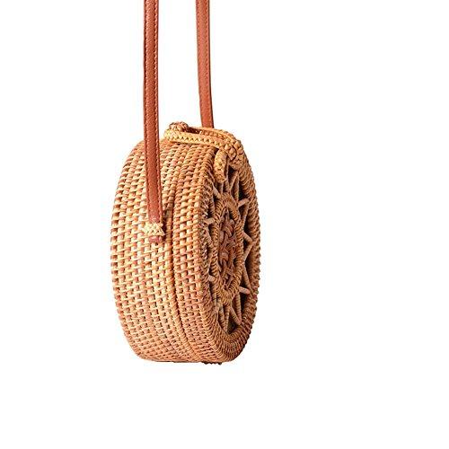 Rattan Shoulder Bag nbsp;Weaving for Beach Big Straps Leather Flower Retro Crossbody Bag Equinox Handwoven Bag nbsp;Pattern Rattan Women Round time Hollow wwHFaqR8