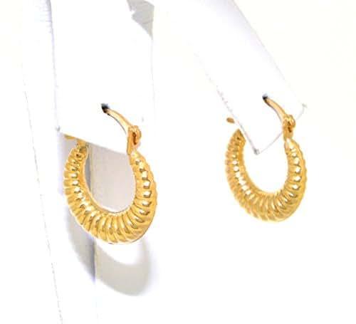 14K Yellow Gold Fancy Baby Shrimp Hoop Earrings