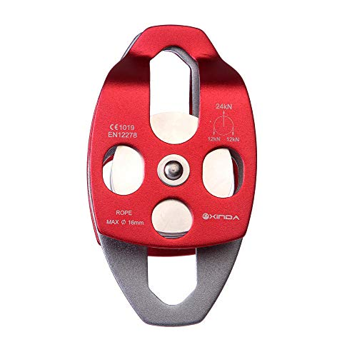 Forged Aluminum Alloy 24KN Large Rescue Pulley Double Sheave Climbing Mountaineer Belay Rigging ()