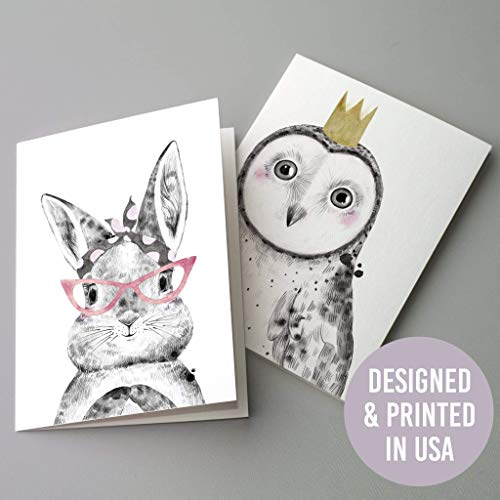 (Bulk Whimsical Animal Greeting Cards - 24 Assorted Blank Cards with White Envelopes (12 Designs) Woodland Creatures Pastel Children's Illustrations | Birthday Thank You Owl Giraffe Elephant Alpaca)