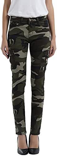 FunnySun Women's Army Camo Jeans Stretch Slim Casual Cargo Pencil Pants