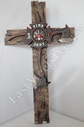 (Fireman Decorative Wall Cross Axe Maltese Fire Department Emblem Firefighter 21