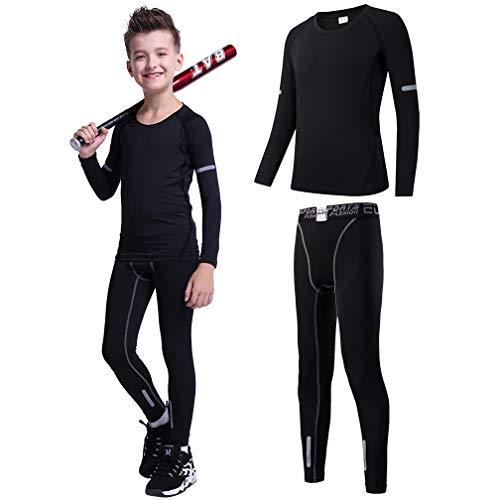 Tesuwel 2/3/4/5 Pcs Boys Girls Athletic Compression Pants and Shirts Base Layer Thermal Underwear Set Running Tights Leggings -