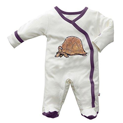 Babysoy Janey Baby Footed Pajamas - Organic Kimono Sleeper (0-3 Months, Tortoise)