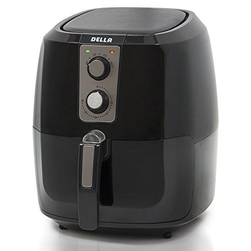 Della XL Electric Air Fryer Button Guard & Detachable Basket - Black 5.8 QT, 1800W