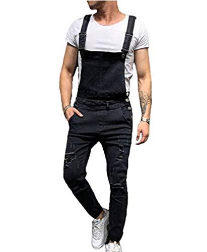 (Mens Denim Trousers Bib Overalls Dungarees Stonewash Jeans Jumpsuits (S, Black))