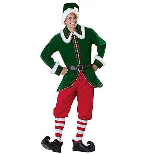 Viyor shop Mens Elf Costumes Green Christmas Costume with Hat Cosplay Suit