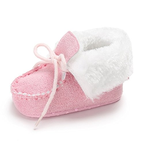Meeshine Newborn Baby Boys Girls Bow Fur Soft Sole Crib Shoes Slip-on Moccasins Slippers Infant Toddler Pre-walker(Small(0-6 Months),Pink)