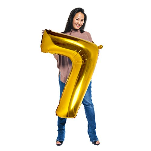 Treasures Gifted Birthday Balloons Numbers Giant 40 Inch 7 Gold Party Supplies for Girls and Boys Anniversary Foil Decor Big Bday Aluminum Mylar Ornaments ()