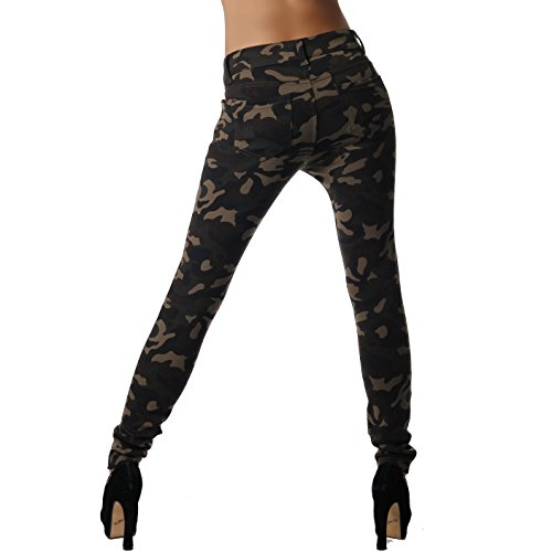 F01 Damen Camouflage Stretch Jeggings