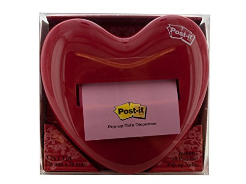1 X Post-it Red Heart Pop-up Note Dispenser - 3'' x 3'' - Holds 50 Sheet - Red Heart by Post-it