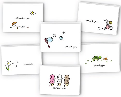 Summer Collection Thank You Cards - 24 Cards - Thank You Card Ice Cream