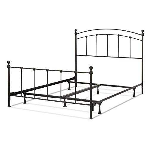 Queen Set Headboard Complete - Leggett & Platt Sanford Complete Metal Bed and Steel Support Frame with Castings and Round Finial Posts, Matte Black Finish, Queen