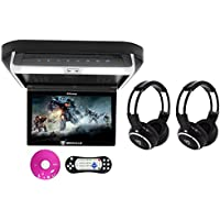 Package: Rockville RVD10HD-BK 10.1 Black Flip Down Monitor With DVD Player, HDMI, USB/SD, Games, and LED Mood Light + (2) Rockville RFH3 Dual Channel Wireless Ir Headphones
