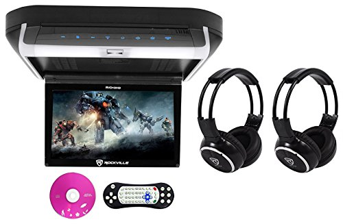 Rockville RVD10HD-BK 10.1″ Flip Down Monitor DVD Player, HDMI, USB+Headphones