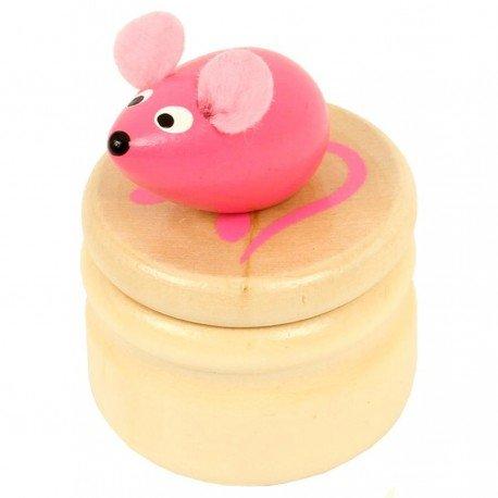 Boite à dents de lait souris rose boîte en bois couvercle à visser enfant 5 ans Ulysse