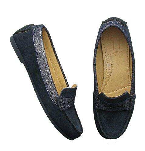Suede spring He Zt04 Para Color zapatillas Mujer Azul Marino qv7dEf