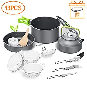 Igrome Camping Cookware Kit,Outdoor Cooking Set with Kettle,Lightweight Camping Pot and Pan for 2 to 3 People Camping…