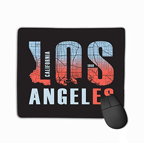 Mouse Pad Los Angeles California Print Design Stamp Label Typography Rectangle Rubber Mousepad 11.81 X 9.84 Inch