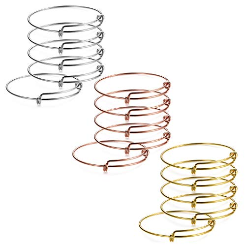 (SROMAY 15PCS Wire Blank Bangle Bracelet Expandable Charm Bracelet for DIY Jewelry Making, 2.4 Inch - Silver & Gold & Rose Gold)