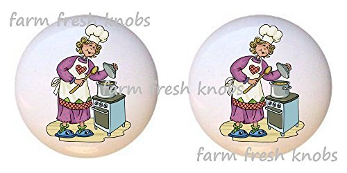 SET OF 2 KNOBS - Lady Cook with Heart Apron and Stock Pot - Kitchen by Alenka - DECORATIVE Glossy CERAMIC Cupboard Cabinet PULLS Dresser Drawer - Stock Discount Outlet