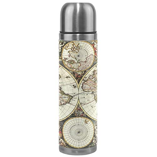 (Wamika World Maps Vacuum Insulated Stainless Steel Water Bottle, Old Map Of World Hemispheres Sports Coffee Travel Mug Thermos Cup Genuine Leather Cover Double Walled BPA Free 17 Oz)
