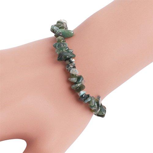 GEM-inside Handmade Natural Gemstone Green Moss Agate Chip Beads Elastic Stretch Healing Reiki Fashion Bracelet For Women 7
