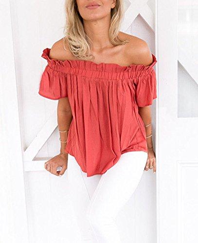 Pliss Couleur Casual Manches Decontractee T Sweatshirt Blouses Courtes Lache Shirts Tops Chemisiers Rouge Unie Femme Legendaryman t Fashions paule rouill Haut ZSXqvO