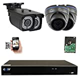 GW 8 Channel H.265 4K 8MP NVR Security System with 2 x 5MP 1920p Dome Camera and 2 x 5MP 1920p Bullet Camera – 2.8~12mm Varifocal Lens Outdoor/Indoor Surveillance IP PoE Camera, 2TB Hard Drive