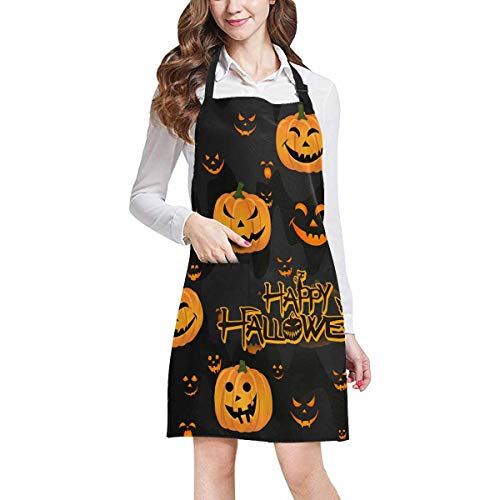 InterestPrint Halloween Decor Funny Abstract Pumpkin Scary Face Adjustable Bib Apron with Pockets - Commercial Restaurant and Home Kitchen Adjustable Apron, Plus Size